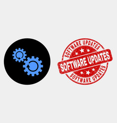 gears rotation icon and scratched software vector image