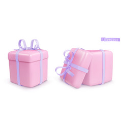 Gift box with a bow 3d realistic icon vector