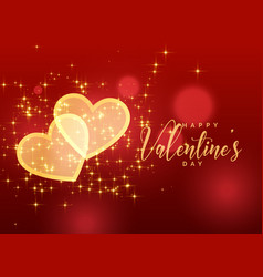 Golden sparkles hearts on red background for vector