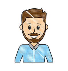grated nice man with mustache design and hairstyle vector image