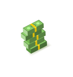 green paper banknotes of dollars in packs of one vector image