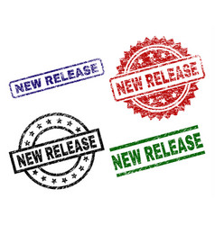 Grunge textured new release seal stamps vector
