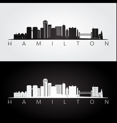 Hamilton skyline and landmarks silhouette vector