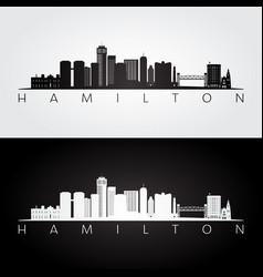 hamilton skyline and landmarks silhouette vector image