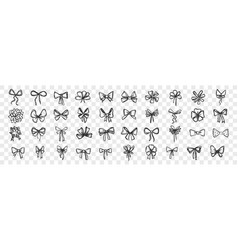 hand drawn bows doodle set vector image