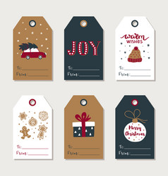 Hand drawn christmas gift tags collection cute vector