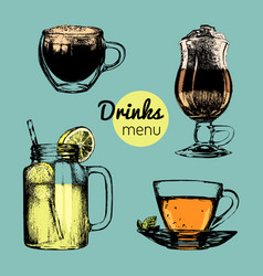 Hand drawn lemonade coffee tea for vector