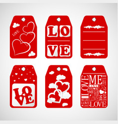 Happy valentine day card hanger and heart vector