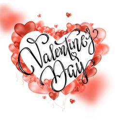 happy valentines day lettering with red hearts vector image