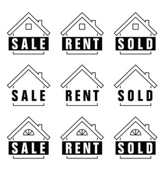Home set sold icon in black and white color vector