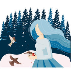 In winter girl feeds birds with hands vector