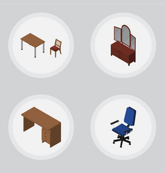 Isometric furnishing set of drawer table office vector