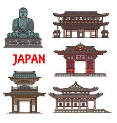 Japanese temples pagodas kamakura architecture vector