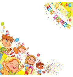 kids celebrating birthday vector image
