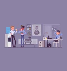 Lunch break in police station vector