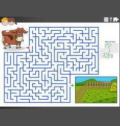 Maze educational game with cow and pasture vector