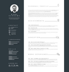 minimalist resume cv template with nice typography vector image