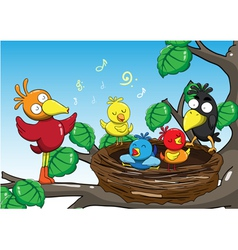 Mother and baby birds singing in the trees cartoon vector image