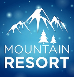 Mountain resort and spruce on blue background vector