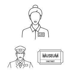 Museum and gallery outline icons in set collection vector