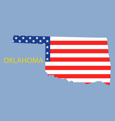Oklahoma state of america with map flag print vector