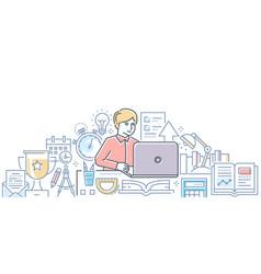 Online exam - modern line design style vector