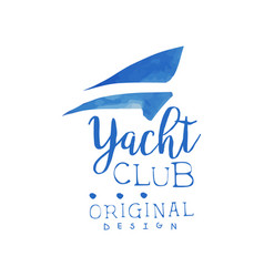 Original hand drawn logo template for yacht club vector
