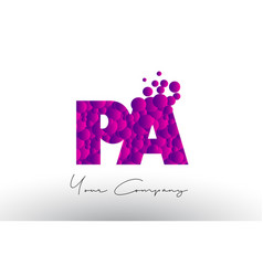 pa p a dots letter logo with purple bubbles vector image