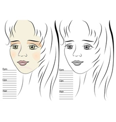 Portrait of girl makeup sketch template vector