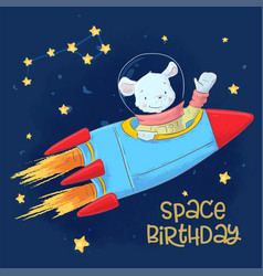 Postcard poster cute astronaut mouse in space vector