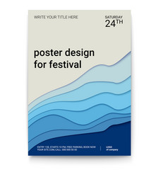 Poster design with a pattern cut paper the vector