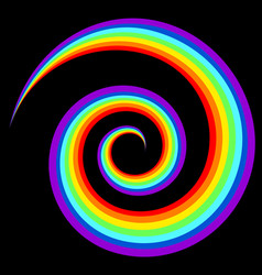 rainbow swirl abstract figure in black background vector image
