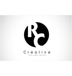 Rc letter logo design inside a black circle vector
