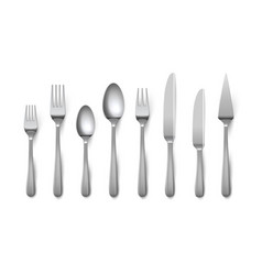 realistic cutlery silverware fork knife spoon vector image