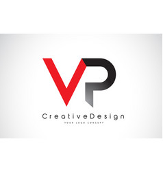Red and black vp v p letter logo design creative vector