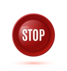 Red glossy stop button icon vector