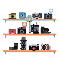 retro cameras ant specific details for vector image