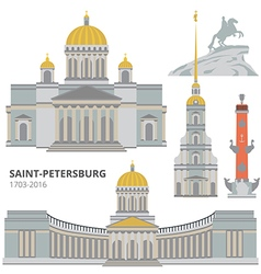 Saint-Petersburg flat cityscape set vector