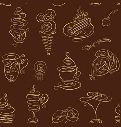 seamless monochrome pattern with hand drawn line vector image