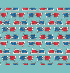 seamless pattern design with 3d glasses vector image
