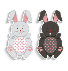 Set of badges with applique cute rabbits best vector