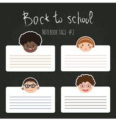 Set of funny school tags with chlidren smiles vector