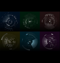 set of futuristic interface elements vector image