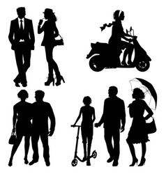 several people on the street city live vector image