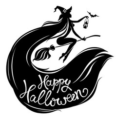 silhouette beautiful witch on broomstick with text vector image vector image