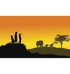 Silhouette of weasel and elephant vector