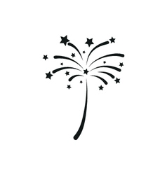 simple black icon of fireworks on white background vector image