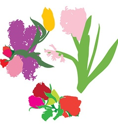 Spring flowers silhouettes vector