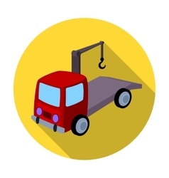 Tow truck icon in flat style isolated on white vector image