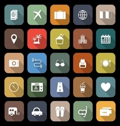 Trip flat icons with long shadow vector
